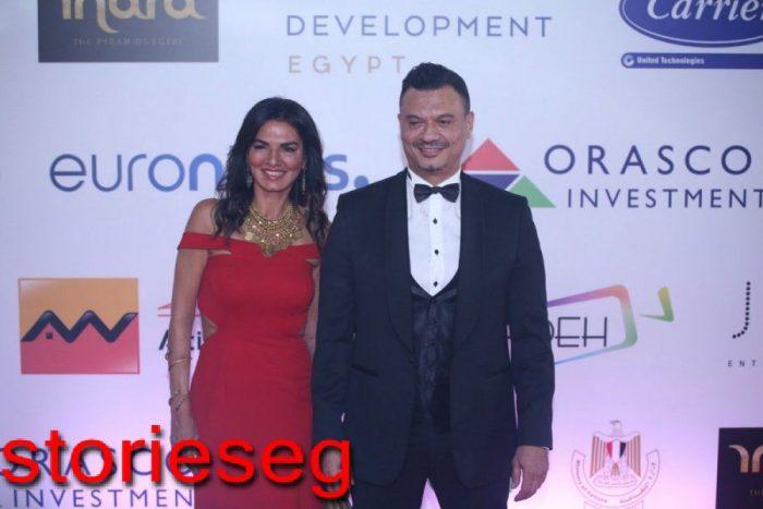 عباس ابو الحسن مع احد زوجاته في مهرجان الجونة عام
